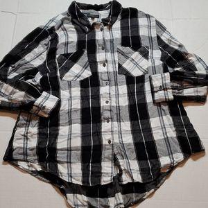 Lane Bryant plaid button down shirt Size 24